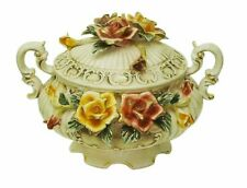 """Capodimonte Style Tureen with Flower Cover/Lid Round 17"""""""