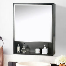 "22"" Adjustable Medicine Cabinet Organizer Mirror Surface Mount Wood Shelf Bath"