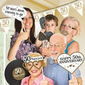 Golden 50th Anniversary Photo Prop Kit Party Accessories - 12 Pieces