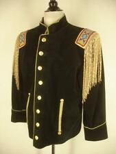 Womens L Vtg black suede leather beaded fringe western jacket cavalry military