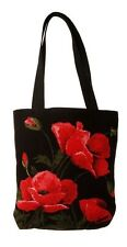 BELGIAN TAPESTRY SHOPPING TOTE BAG 38CM X 34CM, LARGE POPPIES DESIGN