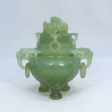 D456: Chinese incense burner of green stone craving with appropriate work.
