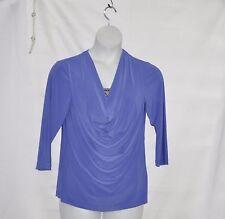 Bob Mackie Draped Jersey Knit Top w/ Jeweled and Studded Inset Size S Iris