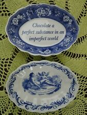 Spode Candy Dishes Blue & White China England Chocolate & Friendship is Love