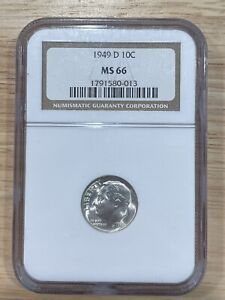 1949 D Roosevelt Dime NGC MS 66, Free Shipping