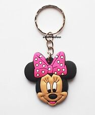 Cute Minnie Mouse Keyring Bagcharm Keychain Zip puller Rubber PVC UK Seller
