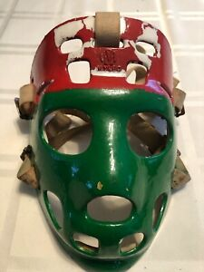 Rare Vintage Mylec Hockey Mask Red And Green Used