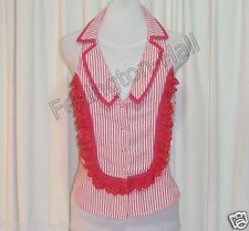 GORGEOUS SASS&BIDE RED&WHITE STRIPED SLEEVELESS TOP 42/6 (AUS 10)
