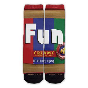 Function - Peanut Butter Fashion Socks pbj jelly sandwhich food funny jar funny