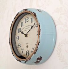 Blue Distressed Retro Wall Clock Kitchen Shabby Chic French Vintage Duck Egg