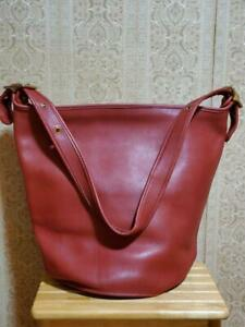 COACH Vintage Duffle Feed Sac Leather Shoulder Bucket Bag Red L6D 9085 USA