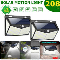 208 LED Solar Powered Wall Lamp PIR Motion Sensor Security Outdoor Garden Light