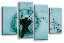 Abstract Floral Wall Art Grey Black Teal Wish Love Quote Split Canvas Picture