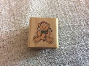Hero Arts Wood Mount Rubber Stamp Christmas Holiday Craft A112 Candy Cane Bear 1