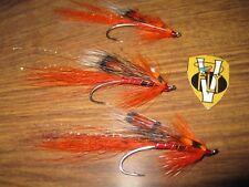 3 V Fly Size 7 Salar Signature Hot Orange Ally's Single Hook Salmon Flies