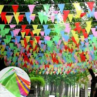 50M Long Triangle Flag Silk Pennant Flag Banner Multi Coloured Bunting Party New