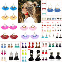 New Women Long Colorful Tassel Dangle Drop Stud Earrings Boho Style Jewelry Gift