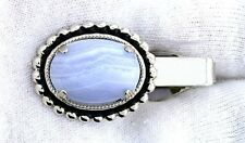 Agate Cabochon Silver Color Tie Clip Bar 1 1/2 Inch 18x13 Oval Blue Lace