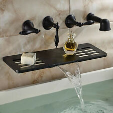 Oil Rubbed Bronze Brass Bathtub Faucet Wall Mount Mixer Tap Waterfall Shelf Tap