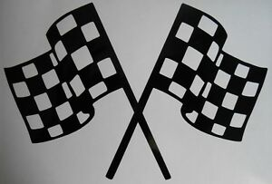 Chequered Flags Car Racing Wall Art Sticker Childrens Playroom Bedroom