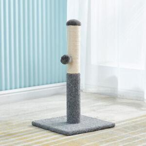 Scratching Post Cat Tree Play Toy Grey Fabric Pet Cat Climber Pillar with Ball