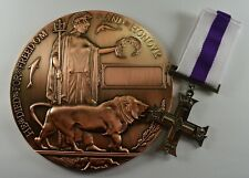 Full Size Bronze World War 1 Memorial/Death Plaque and George V Gallantry Medal