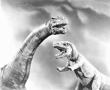 1956's Animal World brontosaurus & allosaurus clash b/w 8x10 scene