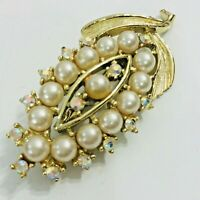 Aurora Borealis Faux Pearl Vintage Brooch Gold Tone Leaf Prong Set Crystal Pin