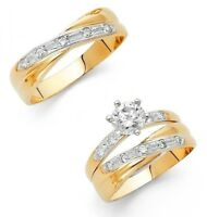 14k Solid Two Tone Gold Trio Wedding Band Bridal Solitaire Engagement Ring Set
