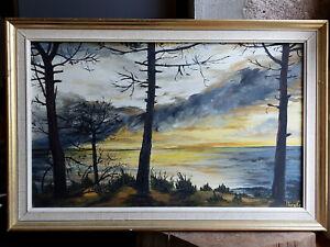 TABLEAU signé Peinture huile toile HST Marine mer paysage breton bretagne soleil