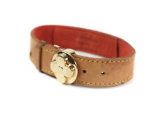 Auth LOUIS VUITTON Monogram Brown Leather Bracelet LB13674L