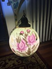 VTG  Glass Hanging Swag Round Lamp Light Flowers Hand Painted Signed