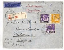 BF193 1936 DUTCH EAST INDIES Bondowoso GB Bexhill REGISTERED Airmail Cover