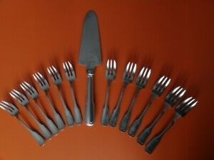 SERVICE à DESSERT GUY DEGRENNE en inox 1 pelle et 12 fourchettes ETAT NEUF