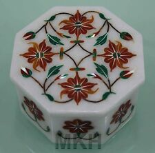Jewelry Box Handmade White Marble Inlay Pietra Dura Carnelian Italian Design