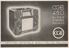 Z1257 Radio CGE 450 Super 5 valvole - Pubblicità d'epoca - 1936 Old advertising