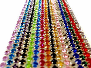 Diamante Rhinestone Crystal Various Colour Chain A++ Quality Silver Base 1 Metre