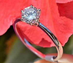925 Sterling Silver Ring Women's Wedding Engagement Band 6 Prong Lab Diamond