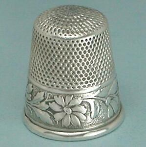 Antique Sterling Daisies Silver Thimble by Webster Co. * Circa 1890s