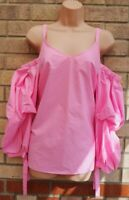 RIVER ISLAND PINK PUFFBALL LONG SLEEVE STRAPPY BARDOT BLOUSE T SHIRT TOP 10 S