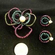 Vintage Neon Rhinestone Open Petal Stylized Flower Huge Brooch & Earring Set!