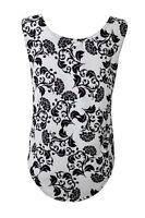 mujer blanco y Negro Floral Vintage Retro Caída SISA Camiseta Sin Mangas