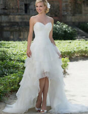 High Low Short Organza Lace Beach Wedding Dress White/Ivory Corset Bridal Gown