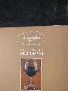St. Nicholas Square Shine Bright Wine Charms 6 Pack Gold Brass Silver Geometric