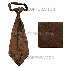 New Vesuvio Napoli Men's Polyester Ascot Cravat Necktie Hankie Paisley Brown
