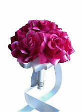 "8"" Wedding Bouquet - USA Seller - Fuchsia Open Rose Bouquet"