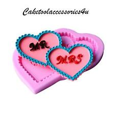 Mr & Mrs Wedding Love Heart Silicone Mould Sugarcraft Cookies Cake Decorating