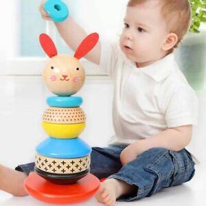 Kids Toys Wooden Building Blocks Toys Rabbit Tumbler Rainbow  Early Educational