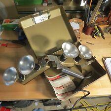Vintage Acmelite Mov-E-Lite lights in case (lot#10832)