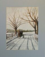 Vintage Watercolor Painting Pennsylvania Dutch Country Amish Buggy Signed!